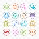 Netz und bewegliche Farbliniesymbol Ikone auf weißem Hintergrund - Vector Illustration Stockfotos