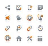 Netz und bewegliche Ikonen 10 -- Graphit-Reihe Lizenzfreie Stockfotos