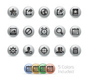 Netz und bewegliche Ikonen 2 //-Metallrunde Reihe Stockfoto