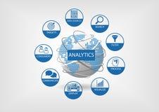 Netz- und Datenanalytikillustration mit Kugel und punktierter Weltkarte Lizenzfreie Stockfotos