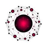 Netz- und Datenaustausch über Planetenerde im Raum Virtuelle grafische Hintergrund-Kommunikation mit Weltkugel lizenzfreie abbildung