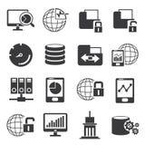 Netz und große Datenikonen Stockfotos