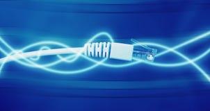 Netz verkabelt Nahaufnahme mit Faseroptik mit glühenden Linien stockfotos
