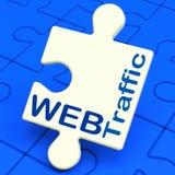 Netz-Verkehr zeigt Besucher zur Website Stockbild