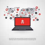 Netz-Verwundbarkeit - Virus, Schadsoftware, Ransomware, Betrug, Spam, Phishing, E-Mail Scam, Hacker-Angriff - IT-Sicherheits-Konz Stockfotos