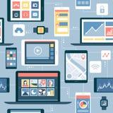 Netz von Geräten und von beweglichen apps stock abbildung
