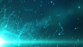 Netz von Linien und von Partikeln mit einem Licht in der unteren linken Ecke stockbild