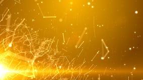 Netz von Linien und von Partikeln mit einem Licht in der unteren linken Ecke stockbilder