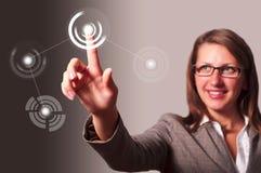 NETZ-Zukunftschnittstelle der rührenden Taste Sozial Lizenzfreie Stockbilder