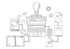 Netzbildungs- und -wissensikonen Lizenzfreies Stockfoto
