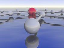 Netzdarstellung über Wasser Stockbild