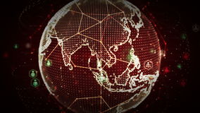 Netze 4K Digital Weltdes Leute-Rotes lizenzfreie abbildung