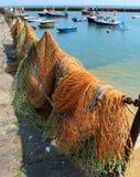 Netze und Boote Stockfoto
