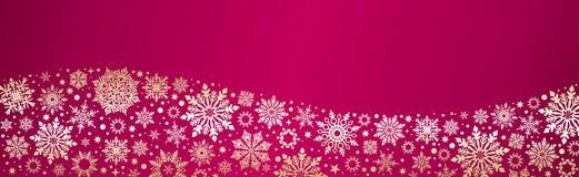 Netzfahne der Weihnachtsvektorschneeflocken rote Gold vektor abbildung
