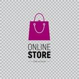 Netzfahne Online-Shop mit Handtasche und Schuhen Illustration auf transparentem Hintergrund lizenzfreie abbildung