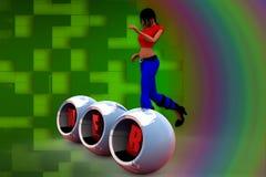 Netzillustration der Frau 3D Stockfotos
