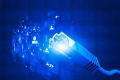 Netzkabel mit Faseroptik lizenzfreie stockfotografie