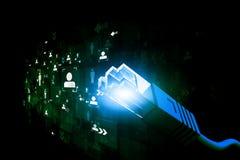 Netzkabel mit Faseroptik lizenzfreie stockfotos