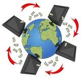 Netzkonzept mit den Monitoren, internationaler Währung und den Pfeilen, die um die Erde fliegen Stockbilder