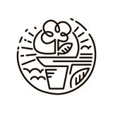 Netzlinie Ikone Blume in einem Potenziometer Linie Art Icon Lizenzfreie Stockfotos