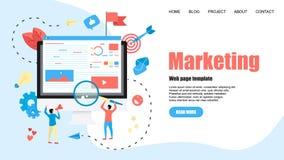 Netzschablone Konzept f?r vermarktende Agentur Digital, flache Vektorillustration der digitalen Medienkampagne vektor abbildung