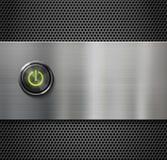 Netzschalter oder Startknopf auf Metallhintergrund Lizenzfreies Stockbild