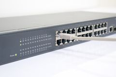 Netzschalter und Ethernet-Kabel Lizenzfreie Stockbilder