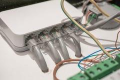 Netzschalter und Ethernet LAN-Kabel angeschlossen an intelligente Hausausrüstung, modernes Technologiekonzept lizenzfreies stockfoto