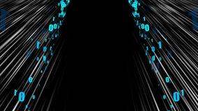 Netzstromdaten - Zeitraffer im Raum mit null und einen, computererzeugter moderner abstrakter Hintergrund, 3d übertragen vektor abbildung