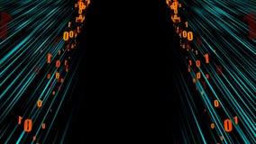 Netzstromdaten - Zeitraffer im Raum mit null und einen, computererzeugter moderner abstrakter Hintergrund, 3d übertragen stock abbildung