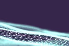 Netztechnikhintergrund Futuristischer Technologieblauhintergrund Niedriger Poly-Draht 3d Künstliche Intelligenz Ai Scy FI Lizenzfreie Stockbilder