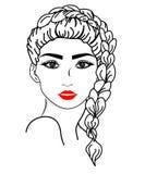 Netzvektor-Mädchengesicht Illustration der langen Frisurenikone der Frauen, Logofrauengesicht auf wei?em Hintergrund, Vektor lizenzfreie abbildung