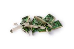 Netzwerkkarten für Computer auf einem weißen Hintergrund Stockfoto