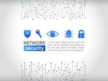 Netzwerksicherheitsikonen High-Teche Technologiehintergrundbeschaffenheit Stockbild