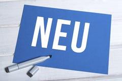 Neu blue board with german writing Royalty Free Stock Photo