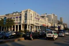 Neu-Delhi Stadtzentrumalltagsleben mit seinem Verkehr Lizenzfreies Stockfoto
