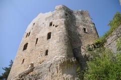 Neu-Homburg Castle Ruin (Burg Neu-Homburg). The Neu-Homburg castle ruin (locally known as Burg Neu-Homburg) is a beautiful, newly renovated castle ruin located Stock Photo