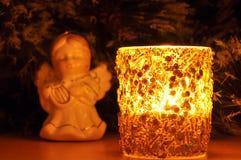Neu-Jahr Kerze und Tannenbaumspielzeug Stockfoto