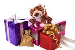 Neu-Jahr Tigerjunges mit Geschenken. Lizenzfreie Stockfotos