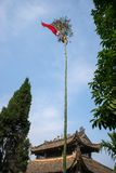 Neu tree. Vietnamese people have a custom of erecting a bamboo pole, known as a Neu tree, in front of their house on the last day. Of the lunar year to expel Royalty Free Stock Photography