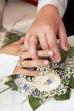 Neu-verheiratete Paare, die Hochzeitsringe zeigen Stockbilder