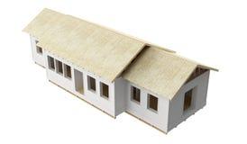 Neubauausgangshölzerne Gestaltung herausgeschnitten und Fasergipsplatte auf weißem Hintergrund lizenzfreie stockbilder