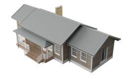Neubauausgangshölzerne Wände und -Dachplatten auf weißem Hintergrund lizenzfreies stockfoto