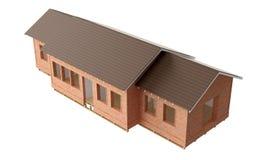 Neubauhaus mit Ziegelsteinen und Dachplatten auf weißem Hintergrund lizenzfreie stockbilder