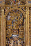 Neuber an der Murz - The carved polychrome Coronation of Virgin Mary on early baroque main altar of Dom. NEUBERG AN DER MURZ, AUSTRIA - SEPTEMBER 13, 2015: The Royalty Free Stock Photography