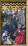Neuberg dera Muraz - farba Jezusowa modlitwa w Gethsemane ogródzie na bocznym ołtarzu gothic Dom niewiadomym artystą od roku 1505 fotografia stock