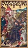 Neuberg ein der Muraz - die Farbe von Jesus unter Kreuz auf Seitenaltar von gotischen Dom durch unbekannten Künstler von Jahr 150 Lizenzfreie Stockfotografie