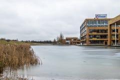 Neubiberg Niemcy, Luty, - 16 2018: Infineon kontroluje ich biznes od ich lokuje budynek blisko do Zdjęcia Stock