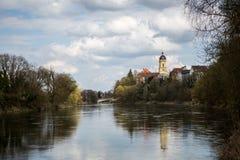Neuburg on River Danube in Bavaria. Castle in town Neuburg on River Danube in Bavaria Gaermany Royalty Free Stock Images