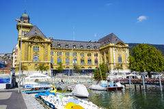 Neuchatel, massive building by the lake Royalty Free Stock Images